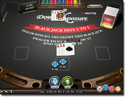 Play Double Exposure Blackjack at Guts.com