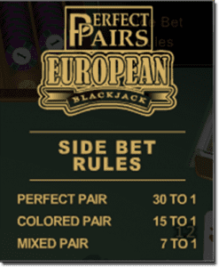 Perfect Pairs Blackjack – Online Blackjack Side Bets