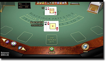 Mobile blackjack at All Slots Casino