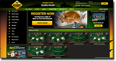 G'Day Casino - Recommended blackjack casino site