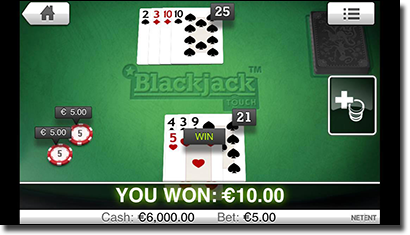 Mobile blackjack games at G'Day Casino