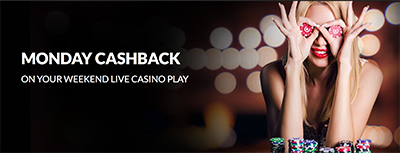 Guts.com cashback welcome bonus on live dealer
