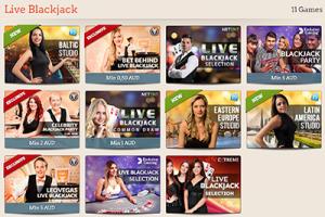 Leo Vegas online casino - live dealer 21 games selection